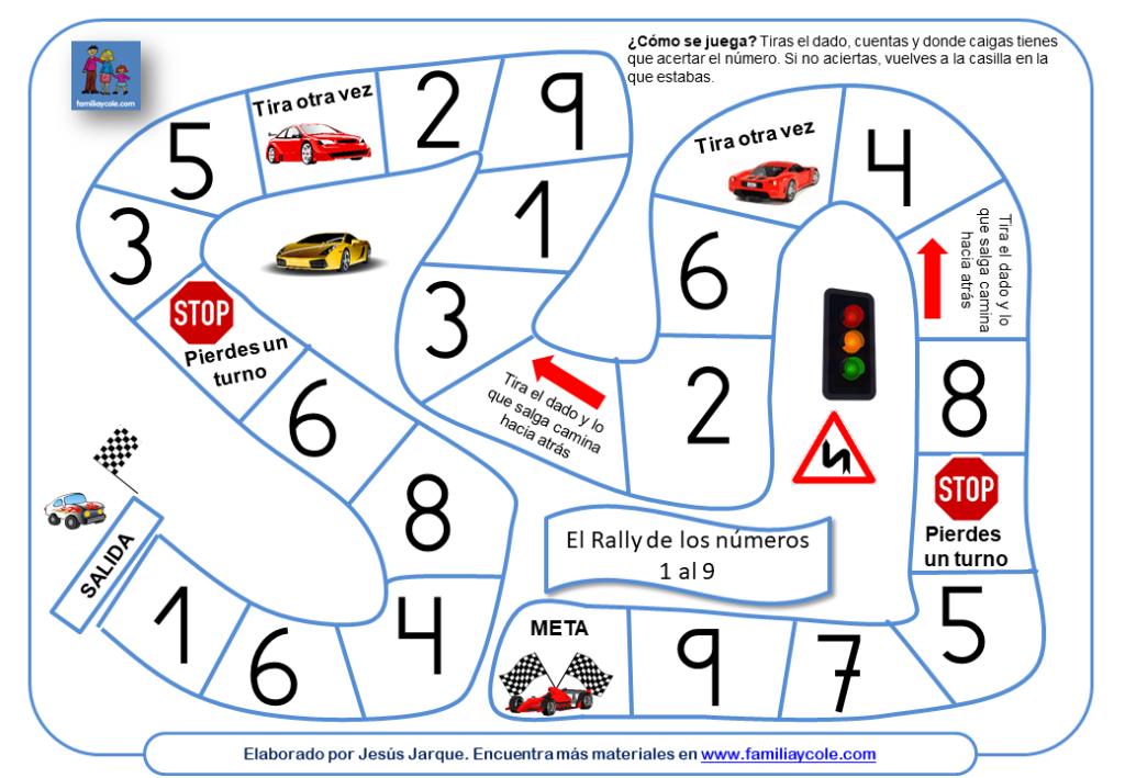 Juego para aprender los números del 1 al 9, imitando un Rally