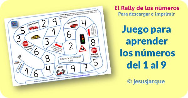 Rally de los números, un juego para aprender los números del 1 al 9.