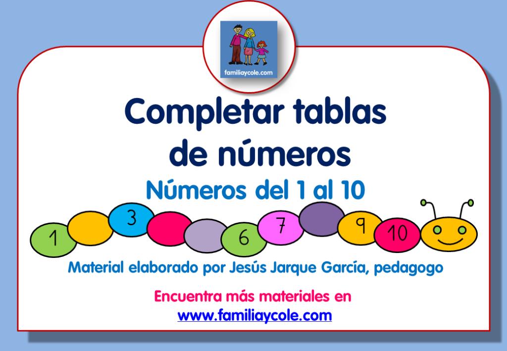 Fichas en PDF con ejercicios de completar números del 1 al 10