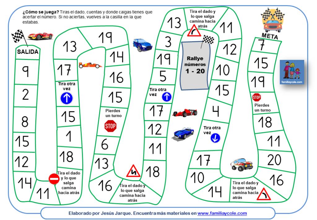 El Rally de los números del 1 al 20. Aprender números del 1 al 20