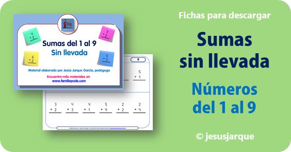 Sumas de números del 1 al 9 sin llevada elaboradas por Jesús Jarque