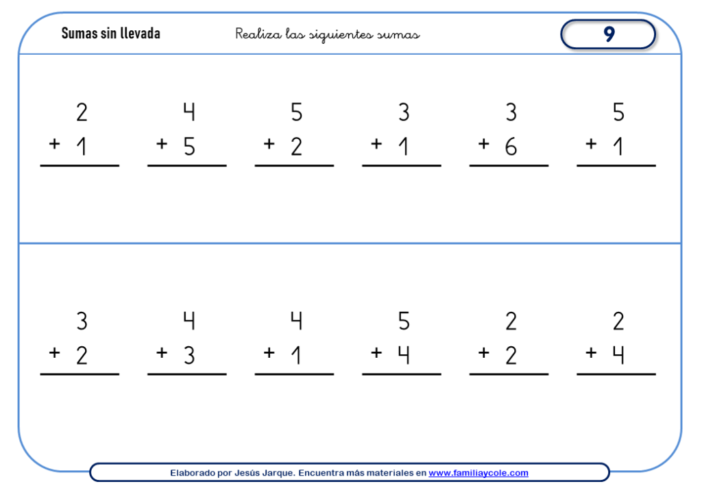 Sumas de números del 1 al 9 sin llevada