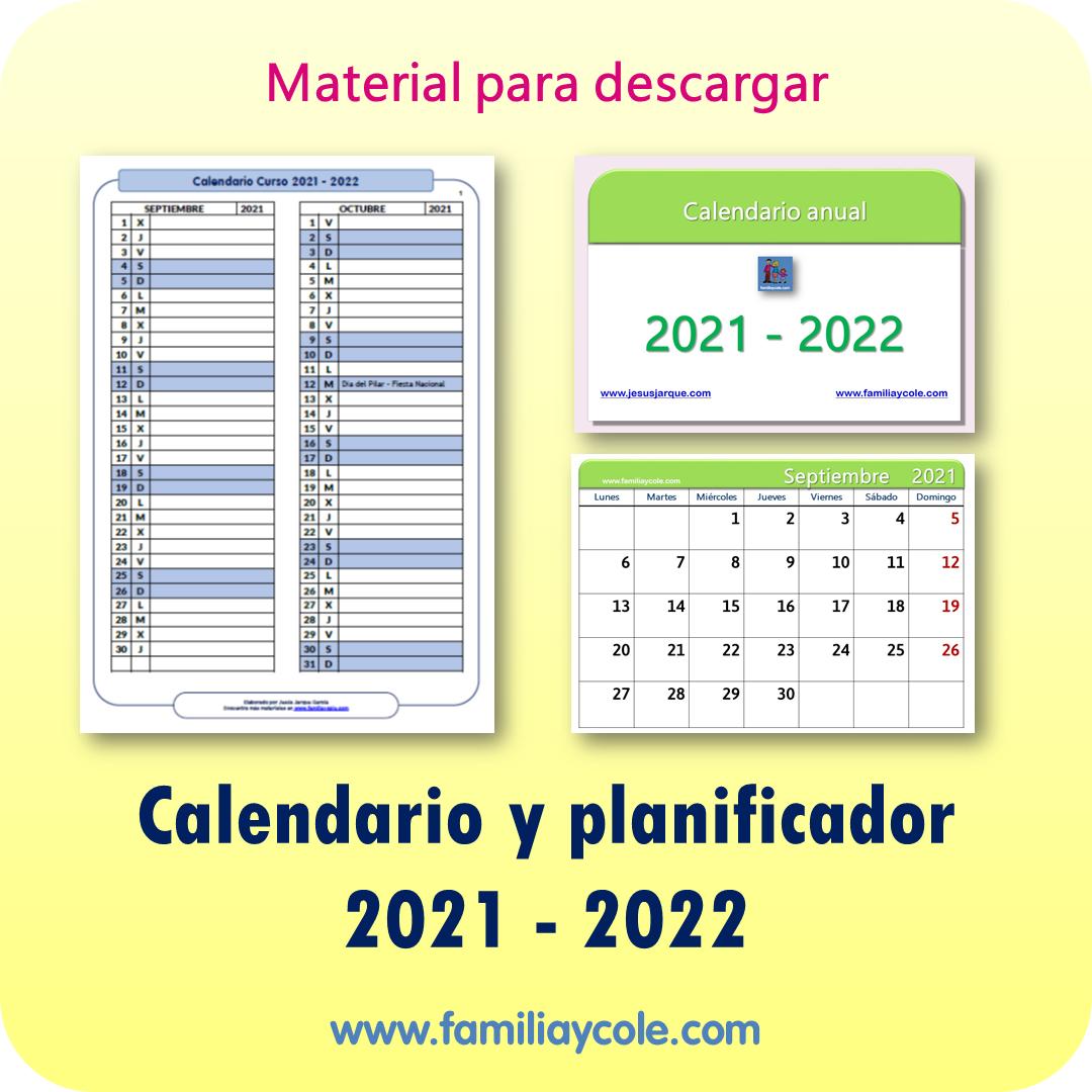 Calendario planificador 2021-2022 para imprimir