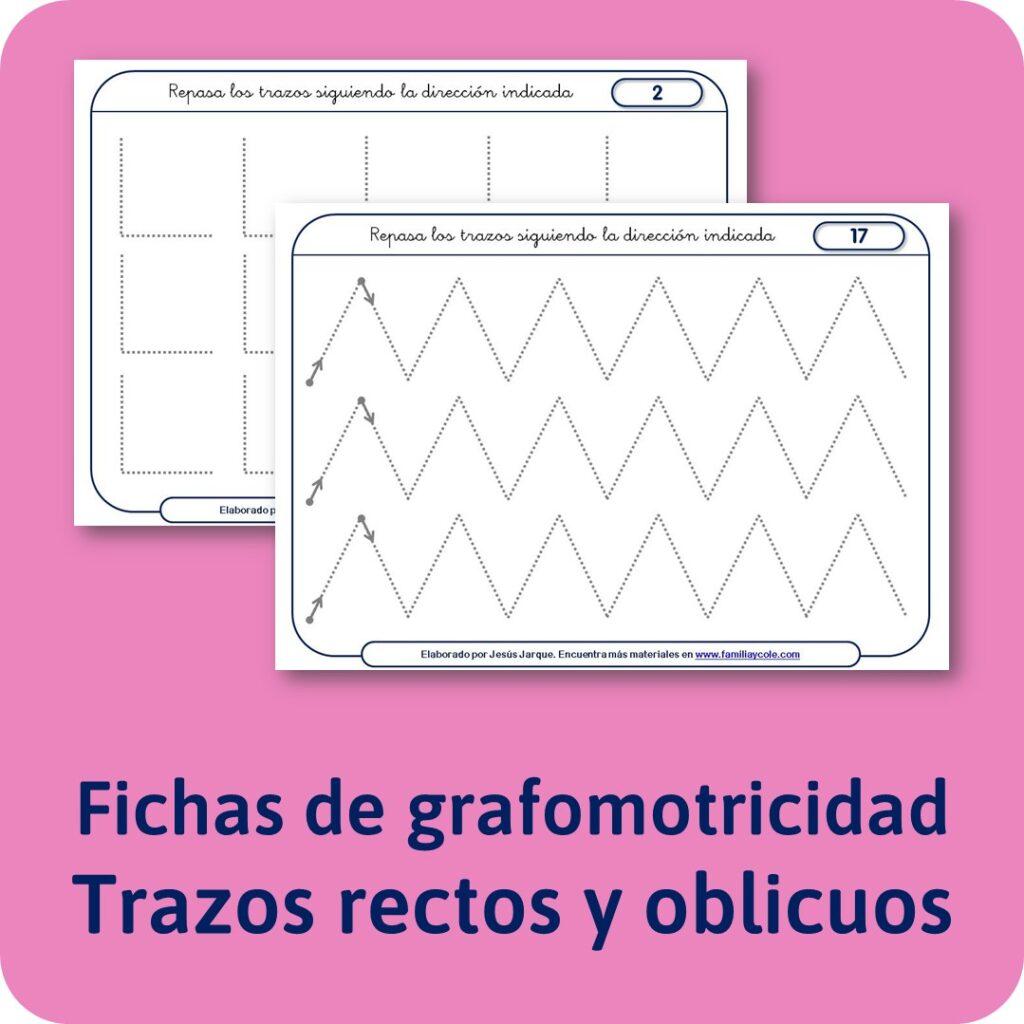 Materiales para Educación Infantil de Grafomotricidad, trazos rectos y oblicuos