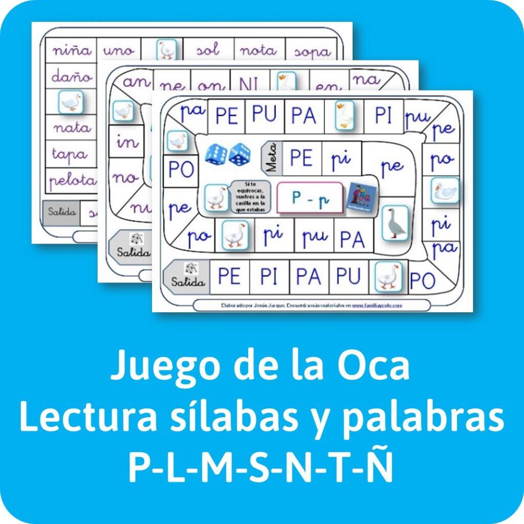 Materiales de lectura: juego de la Oca para repasar sílabas con P, L, S, M..
