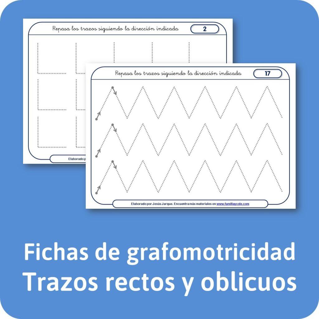 Fichas de grafomotricidad de trazos rectos y oblicuos.
