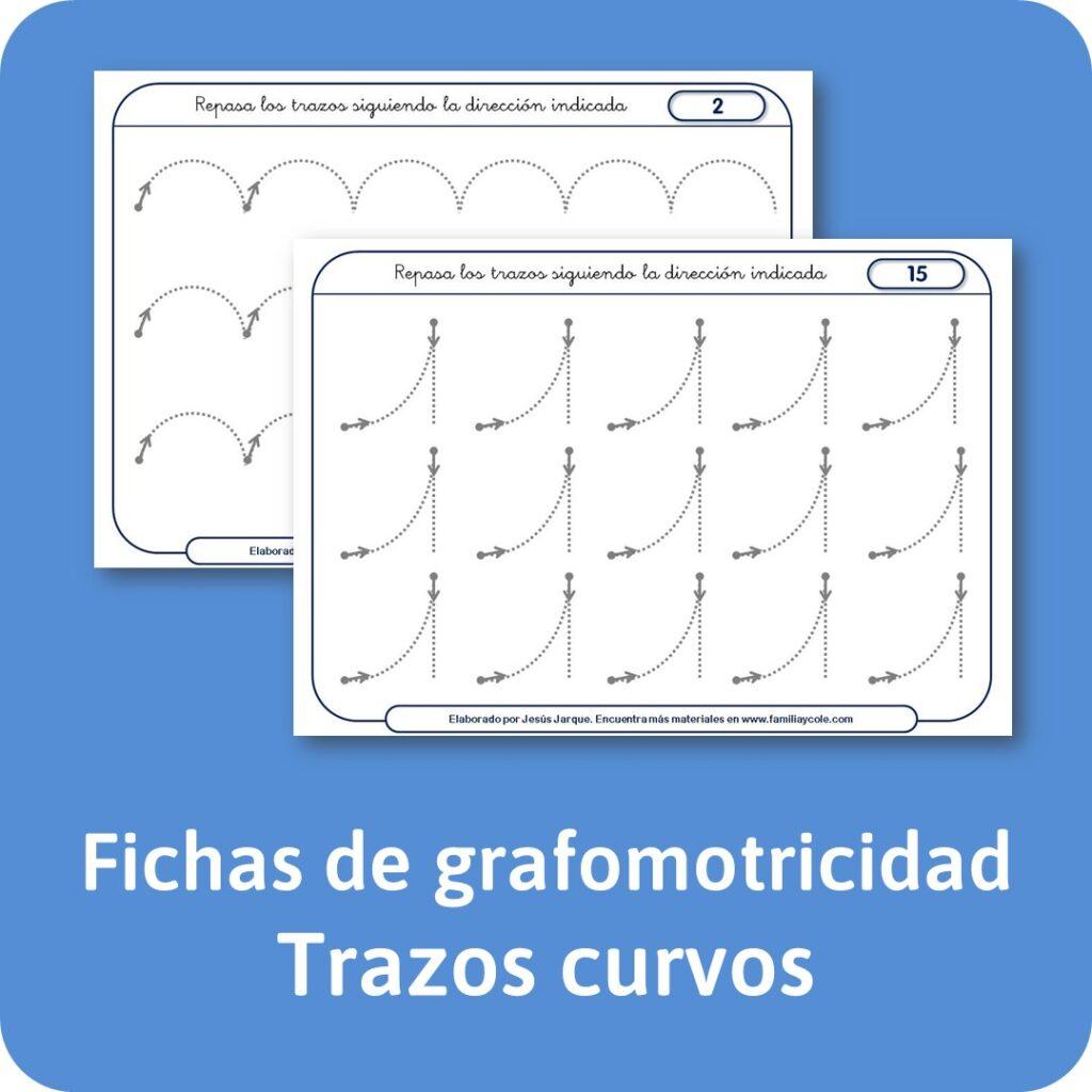 Fichas de grafomotricidad de trazos curvos.