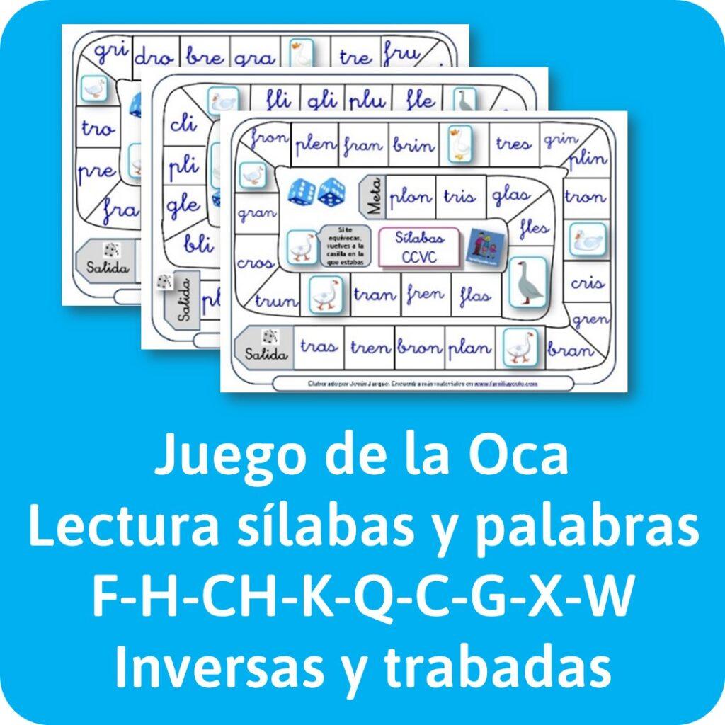 materiales de lectura, para reforzar la lectura de sílabas trabadas con un juego de la Oca