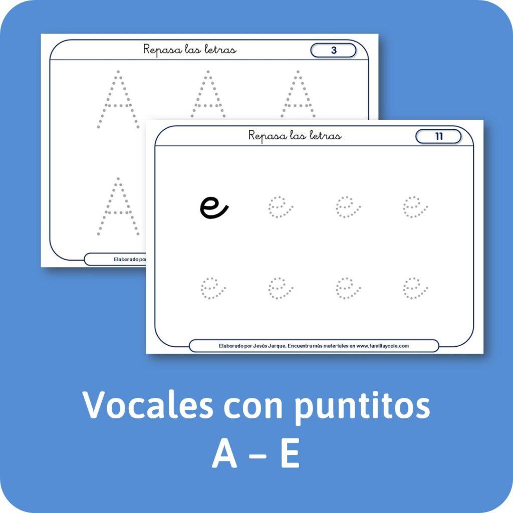 Materiales escritura de letras vocales con puntitos
