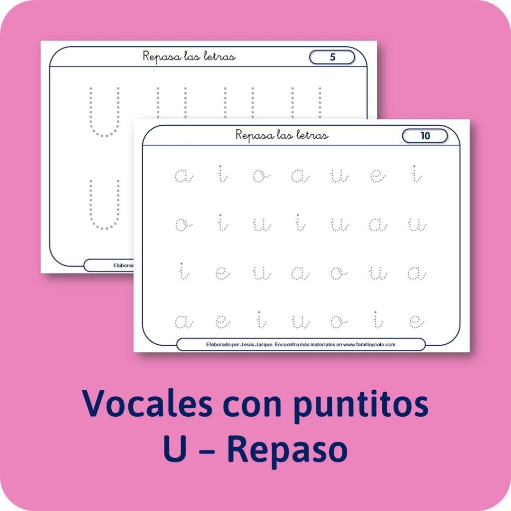 Materiales para Educación Infantil: escritura de las vocales con puntitos.