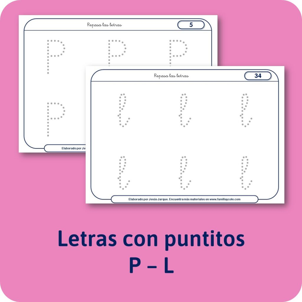 Materiales para Educación Infantil: escritura de las consonantes con puntitos.