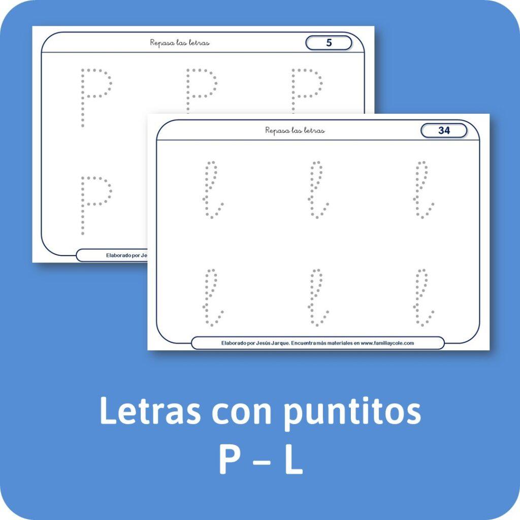 Materiales escritura de letras consonantes con puntitos