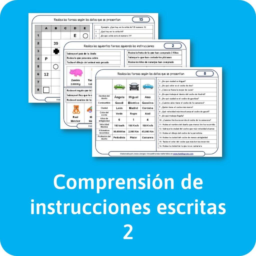 Materiales de lectura de comprensión de instrucciones escritas para descargar e imprimir