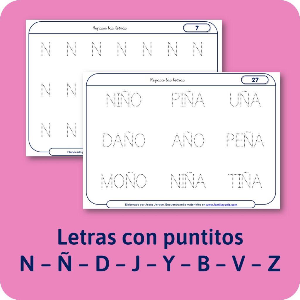 Materiales para Educación Infantil: escritura de las consonantes con puntitos y palabras