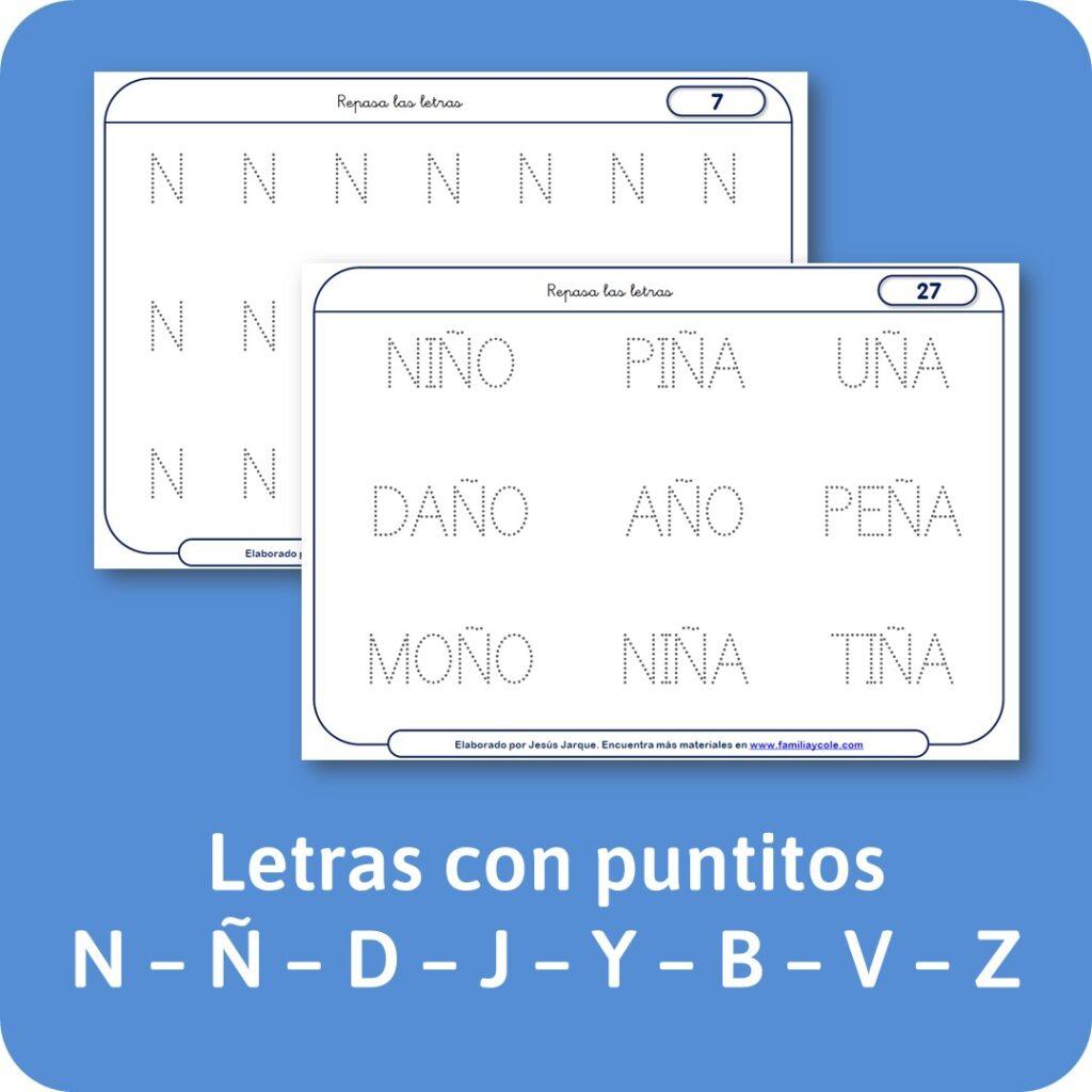 Escritura de letras con puntitos
