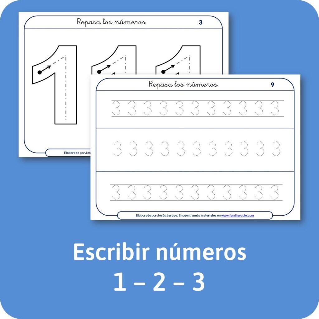 Materiales escritura de números con puntitos