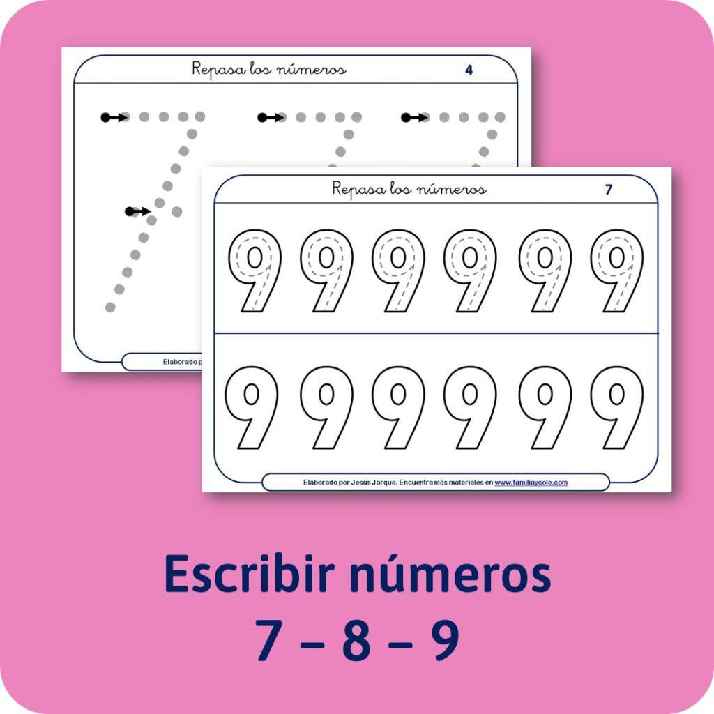 Materiales para Educación Infantil: escritura de los números.