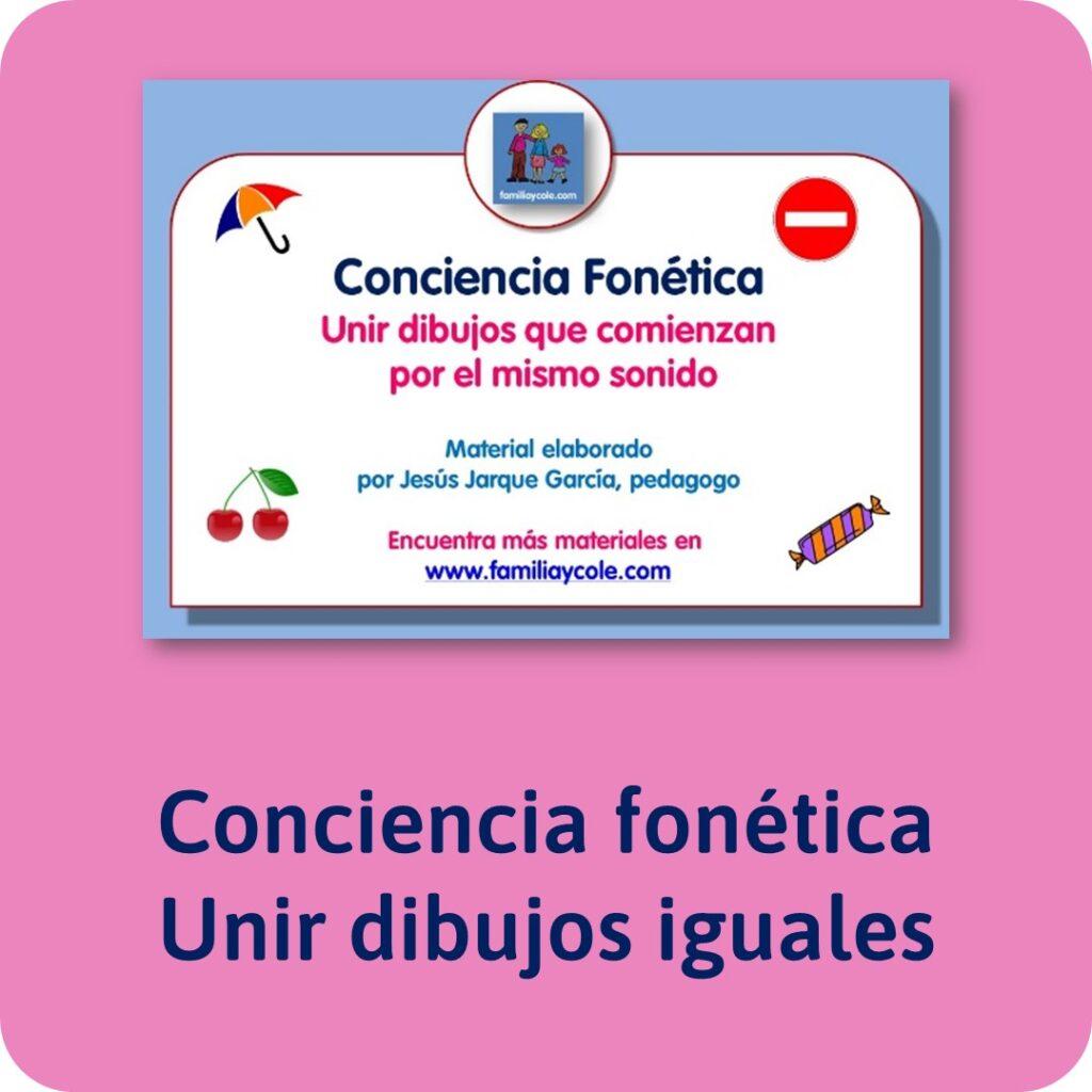 Materiales para Educación Infantil de conciencia fonológica: unir fonemas iguales.