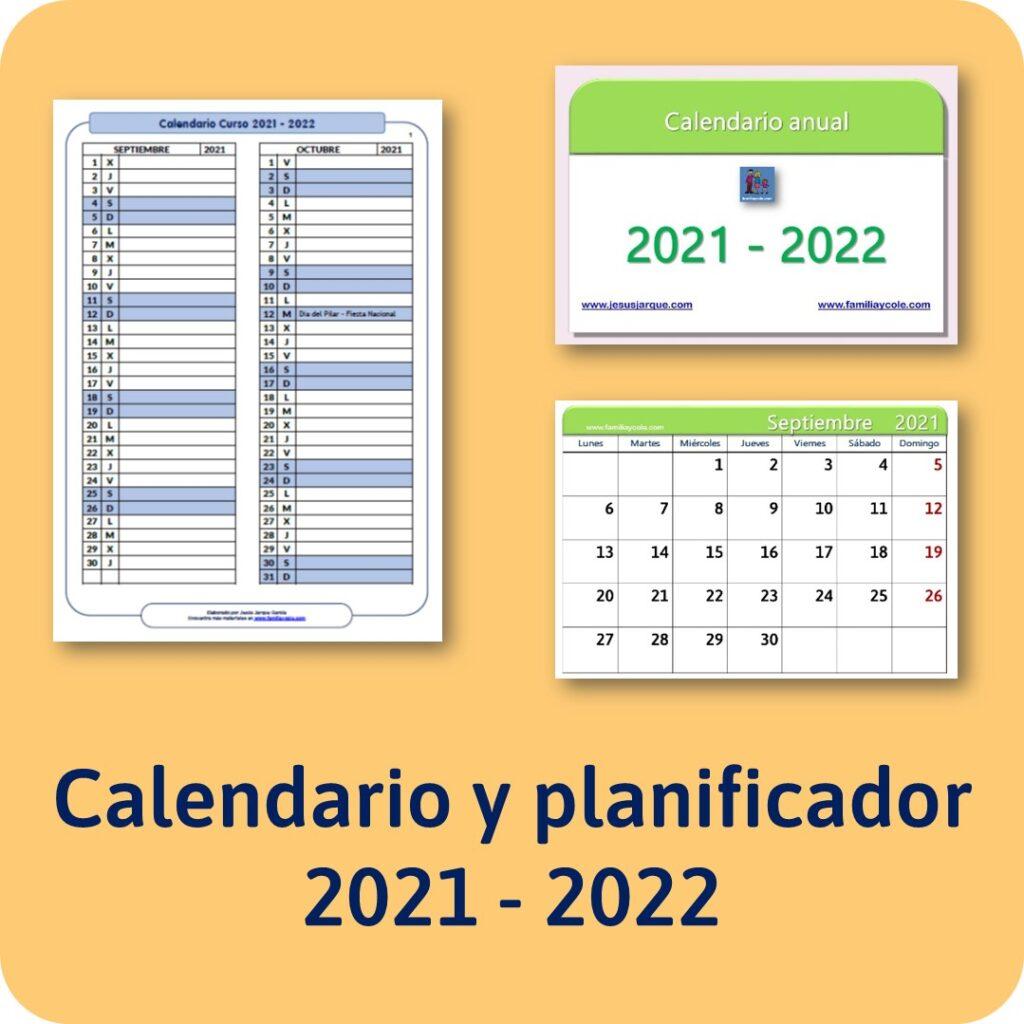 Calendario y planificador curso 2021 2022
