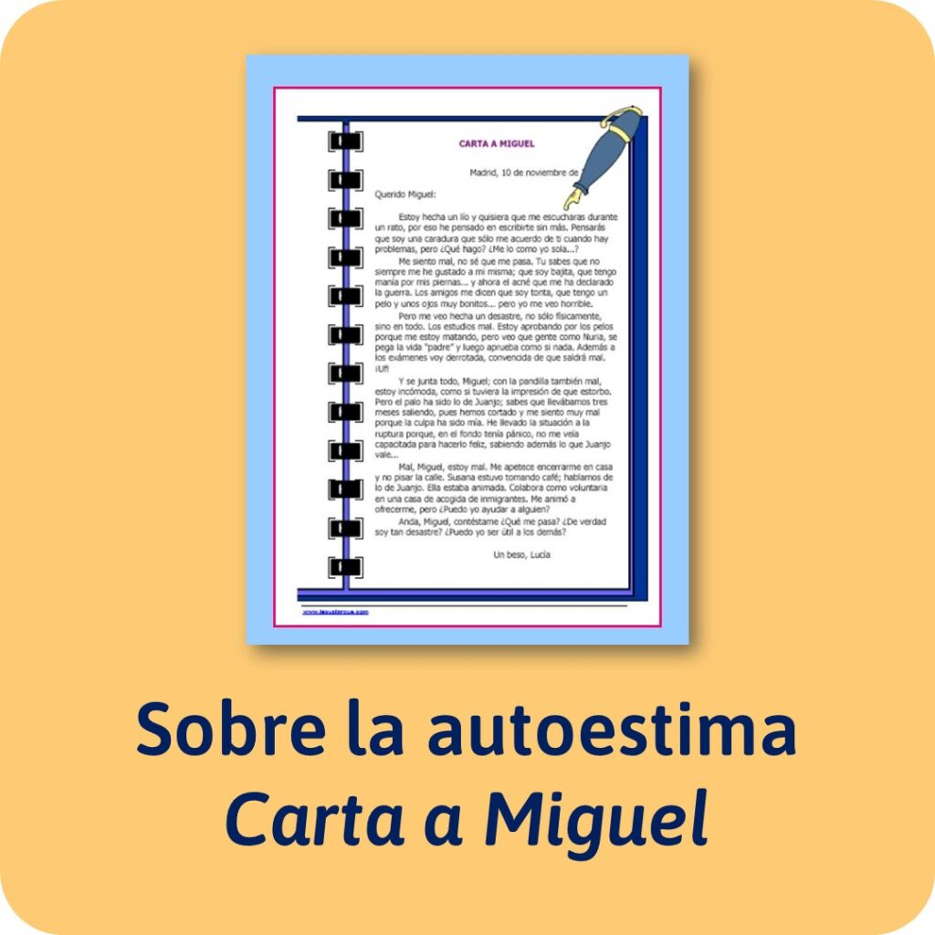 Actividad para trabajar la autoestima: carta a Miguel