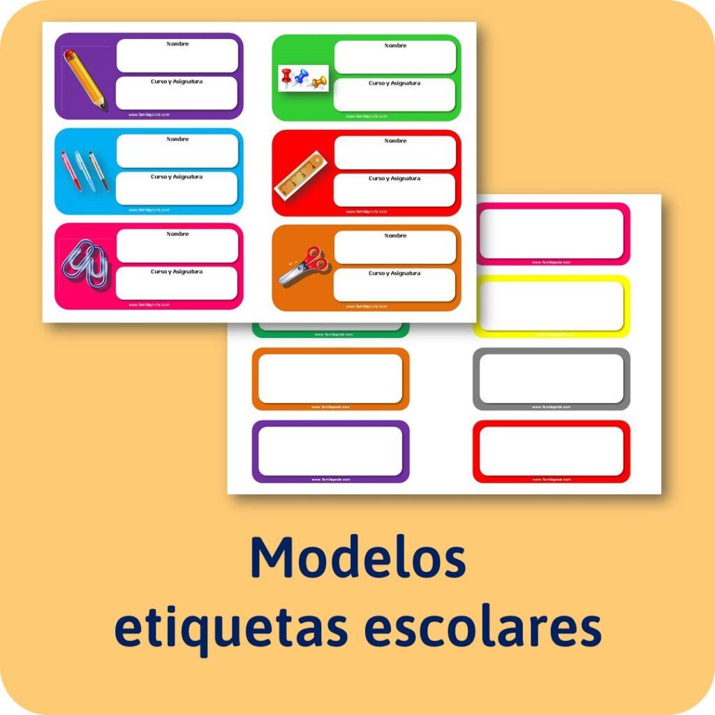 materiales educativos: Etiquetas escolares para descargar e imprimir