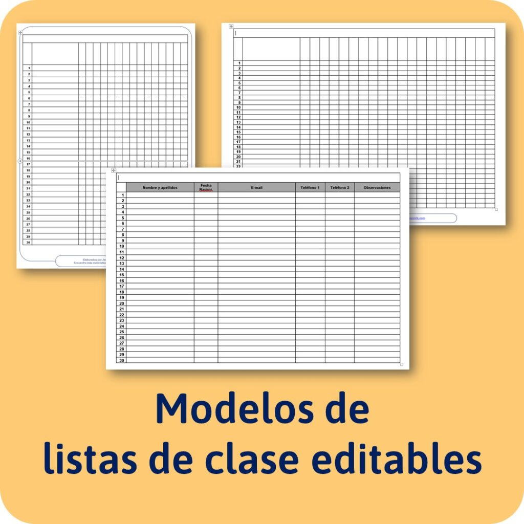 materiales educativos para imprimir: plantillas listas de clase editables