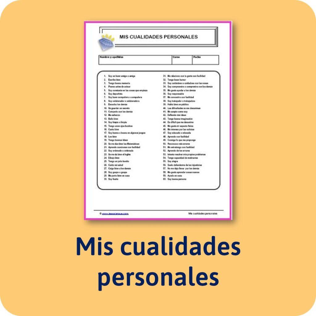 Cuestionario de cualidades personales para niños