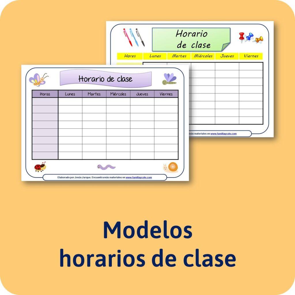 Plantillas de horario de clase para descargar e imprimir como materiales educativos