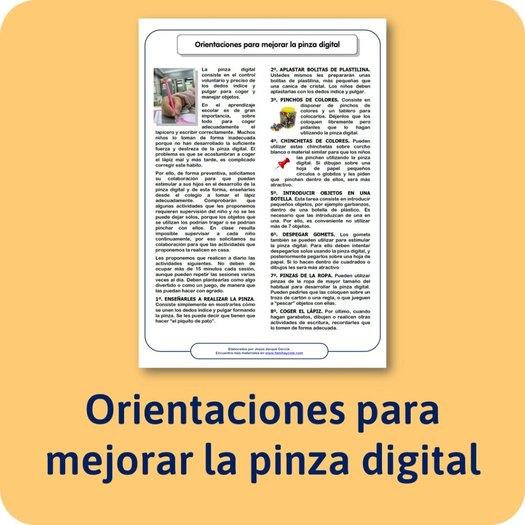 Orientaciones para la familia para mejorar la pinza digital