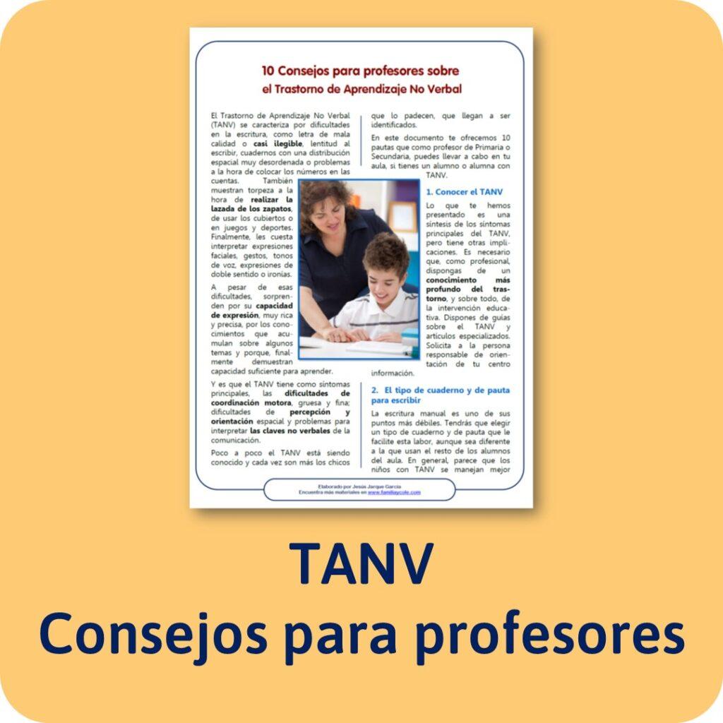 Consejos para profesores con alumnos con TANV
